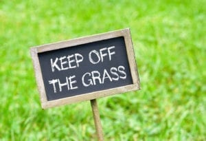 lawn care tip in the winter - stay off the grass - O'Fallon Illinois